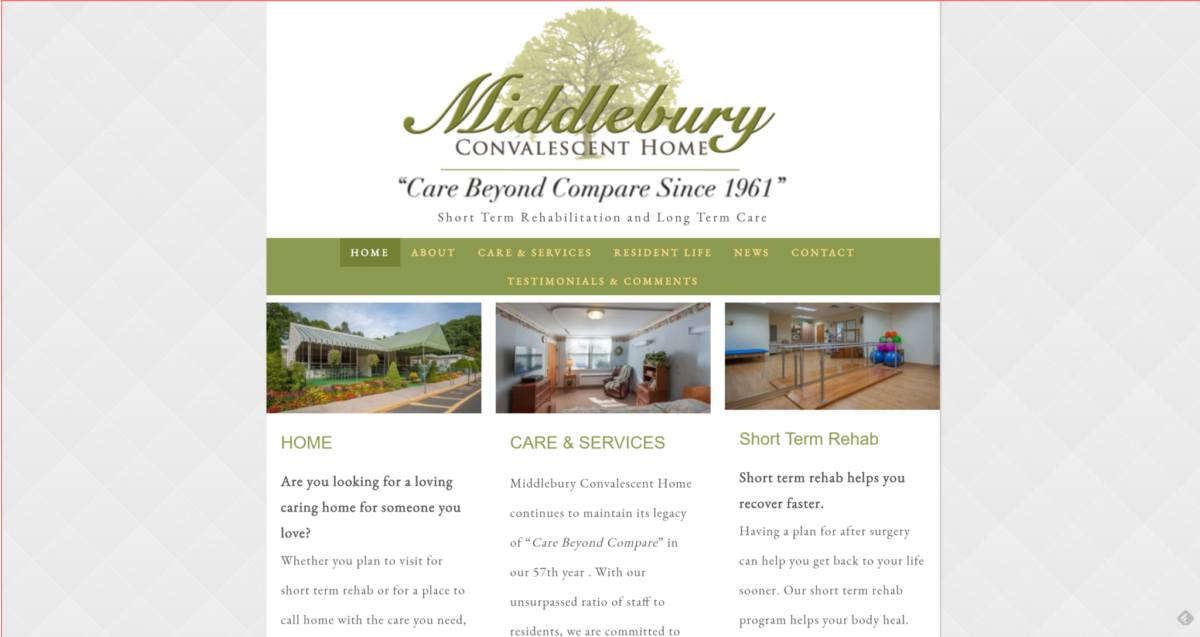 Middlebury Convalescent Home and Rehab Website Front Page
